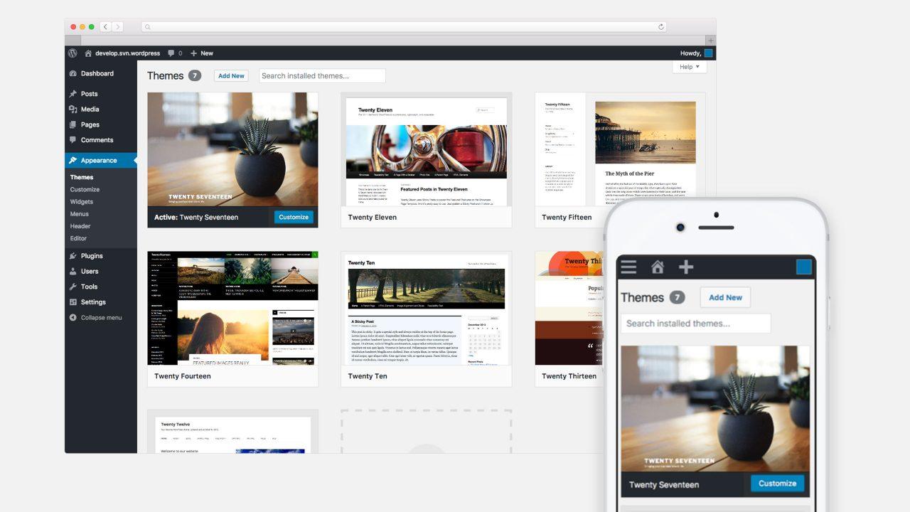 WordPress theme selection